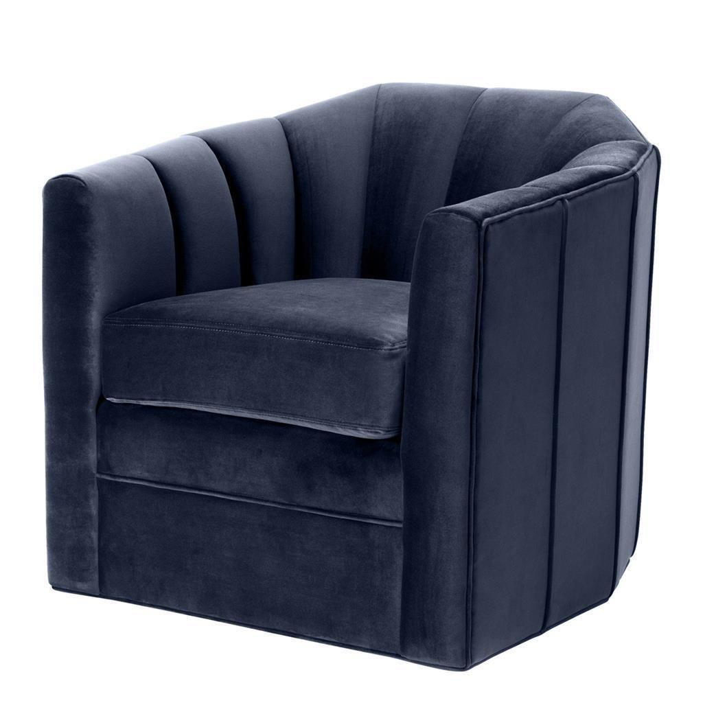 Best Midnight Blue Velvet Swivel Chair Eichholtz Delancey 400 x 300