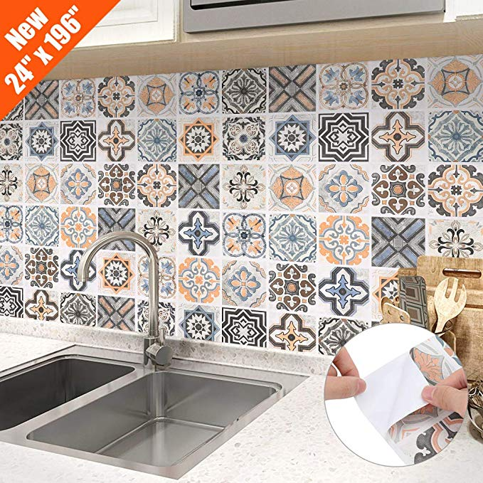 Amazon Com Oxdigi Peel And Stick Wallpaper For Kitchen Backsplash Shelf Liner Staircase Morocca Kitchen Wallpaper Kitchen Wallpaper Tiles Removable Backsplash