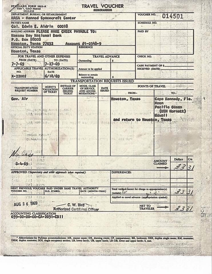 Astronaut Buzz Aldrin Shares His Apollo 11 Travel Expense Report - expense report