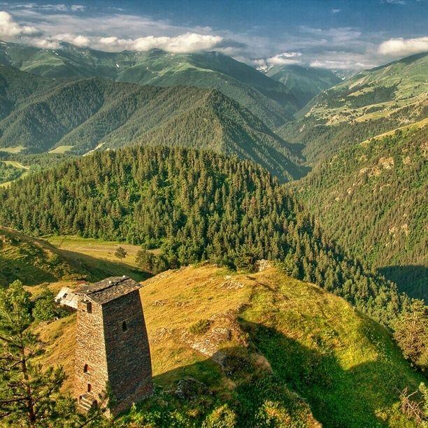 July 2010 Kvemo (Upper) Omalo in Georgian Caucasus in Tusheti region. Altitude ca. 2.100 m, view from Keselo Fortress towards Tusheti...