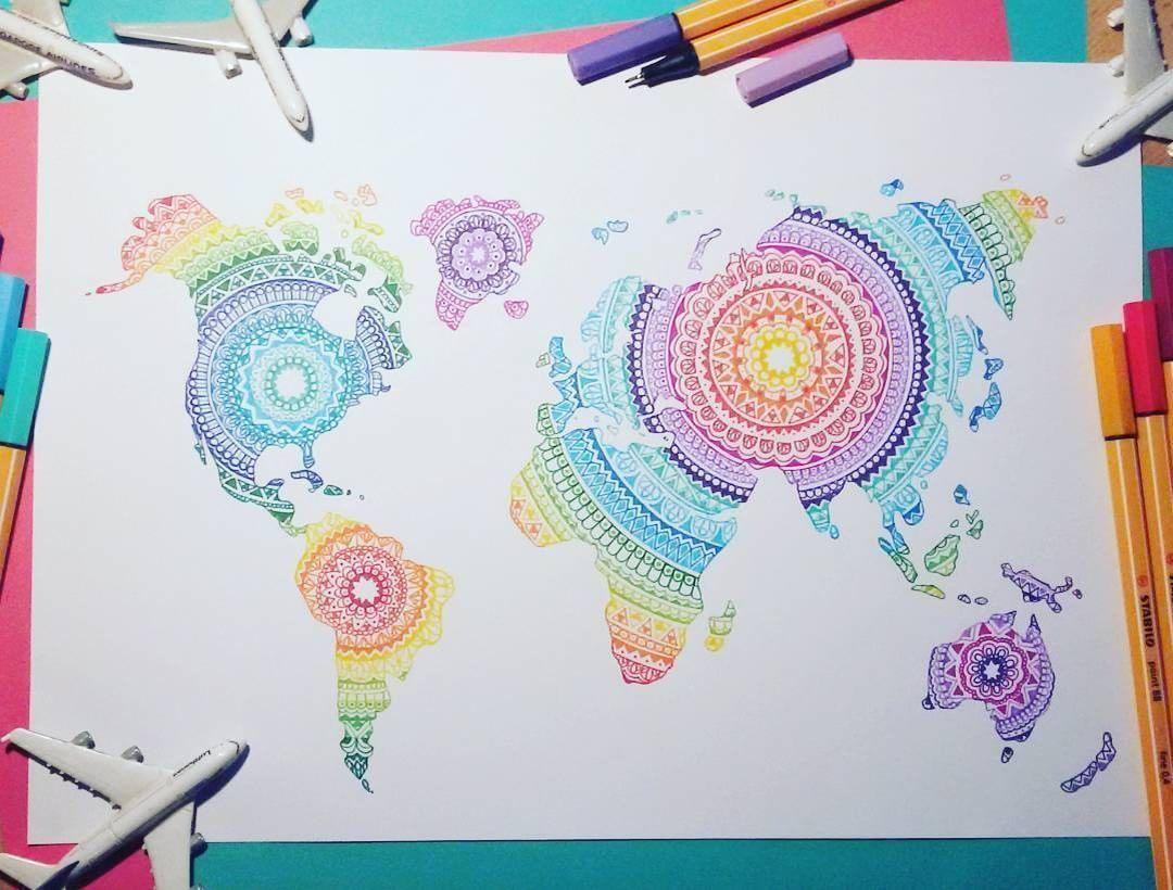 The world map mandala art by josilix crafty pinterest the world map mandala art by josilix gumiabroncs Images