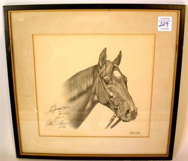 "229: Equine print ""Swaps"" pencil signed ""Allen F. Brewe : Lot 0229"