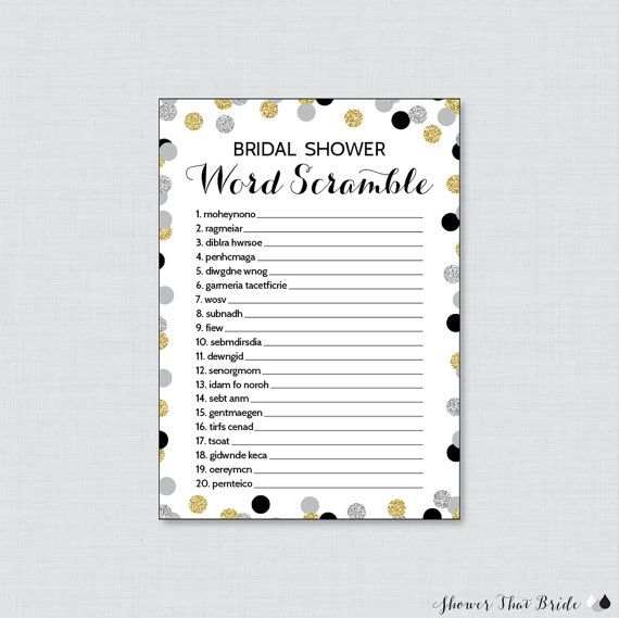 black and gold bridal shower word scramble printable black silver and gold bridal shower game bl