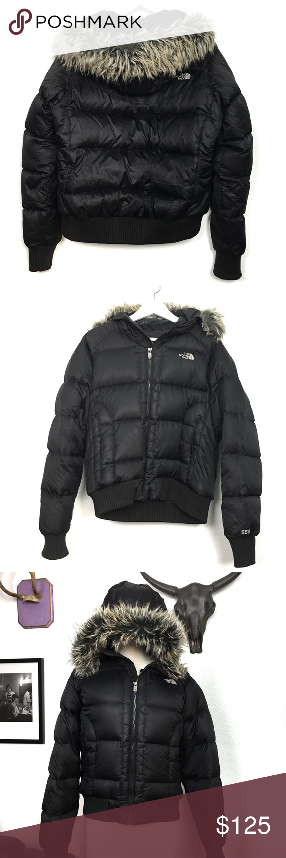 North Face Puffer Jacket Goose Down Faux Fur Hood North