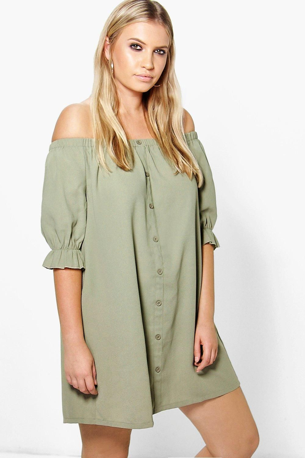 55c8afbe081 Plus Emmie Off The Shoulder Shift Dress at boohoo.com