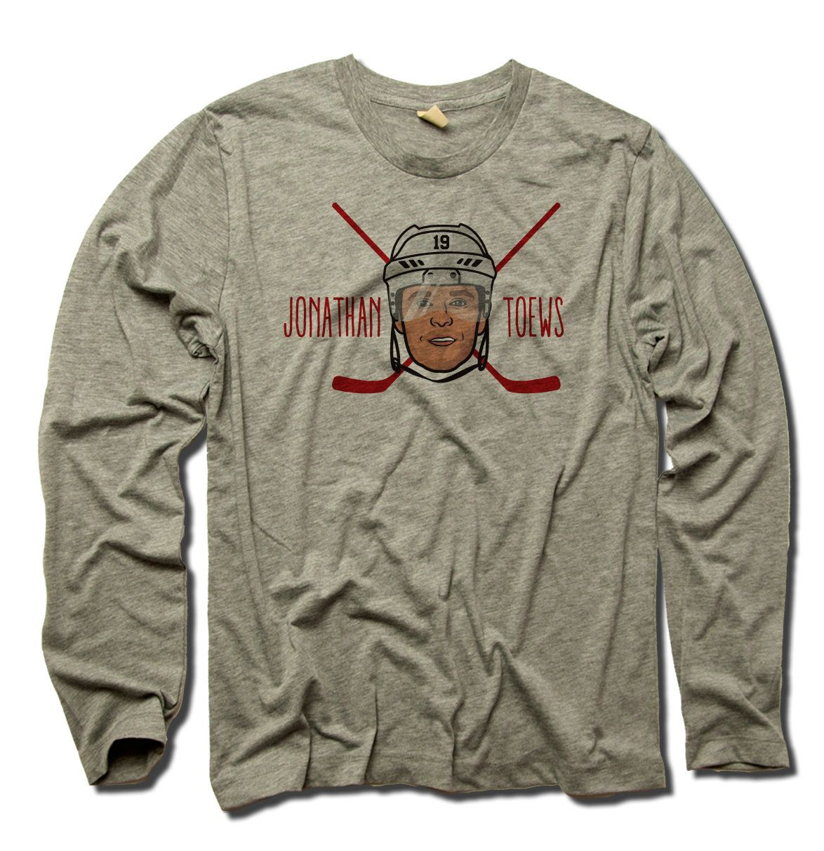 Jonathan Toews Officially Licensed NHLPA Chicago Men's Long Sleeve Tee S-2XL Jonathan Toews Cross Check