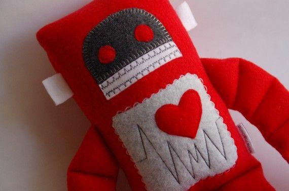 LuvBot Robot Plushie Medium Valentines Day by SnowMachine on Etsy, $24.00