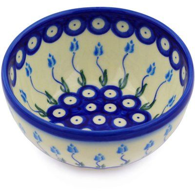 Polmedia Floral Peacock 14 Oz Rice Bowl Ceramic Earthenware Stoneware In Red White Blue Size 2 H X 5 W X 5 D Wayfair In 2021 Polish Pottery Pottery Bowls Pottery