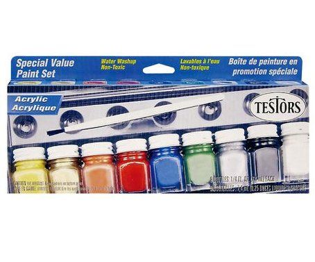 Testors Paint All-Purpose Acrylic 9 Color Gloss Paint Set