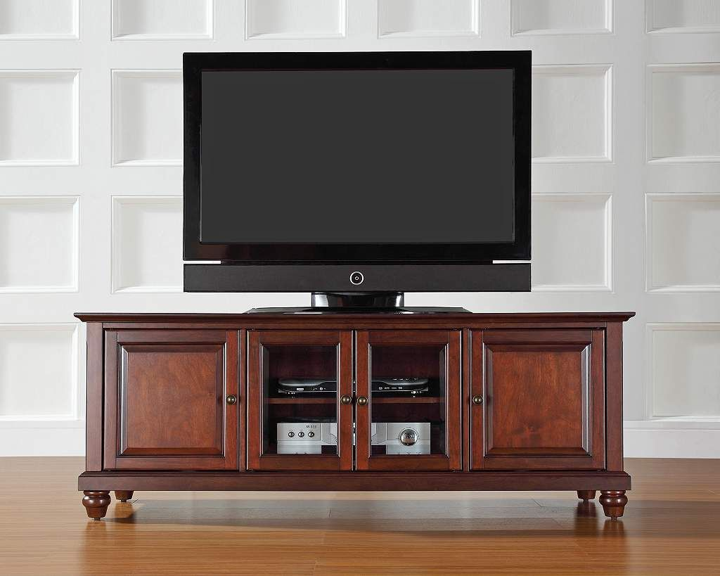 Cambridge 4 Door Vintage Mahogany 60 Low Profile Tv Stand Low  # Meuble Tv Lack