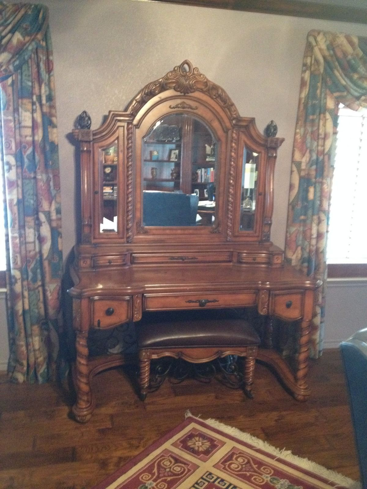 Wooden Vanity with Leather Covered Bench eBay