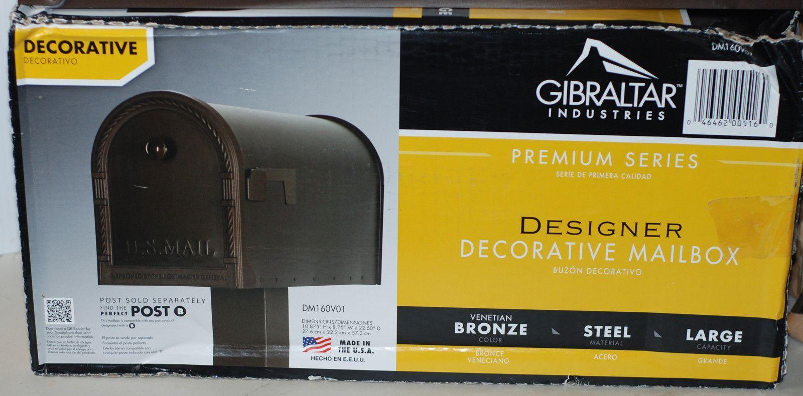 Gibraltar DM160V01 Designer Steel Post Mount Mailbox Venetian Bronze ...
