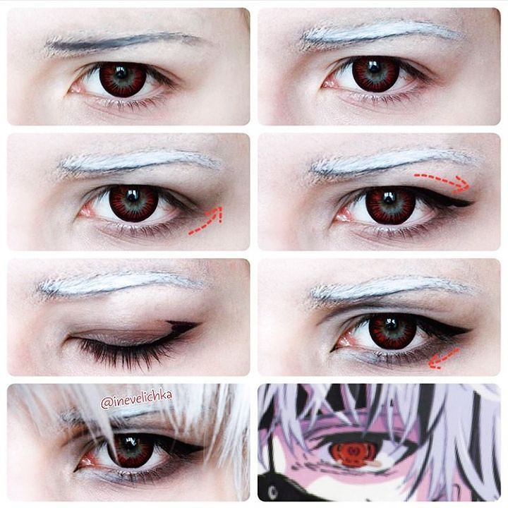 kaneki eye makeup for tokyo ghoul cosplayers :) #anime #eyemakeup ...