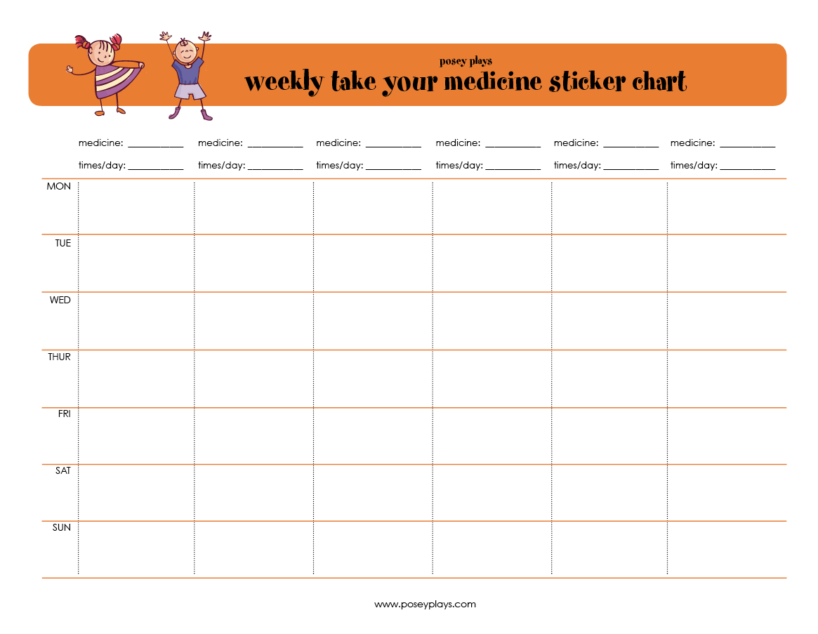Free Printable Weekly Medicine Sticker Chart