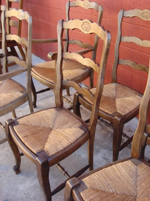 Elegant Antique Furniture Antique Country French Ladder Back Dining Chairs Arm  Chairs Side Chairs