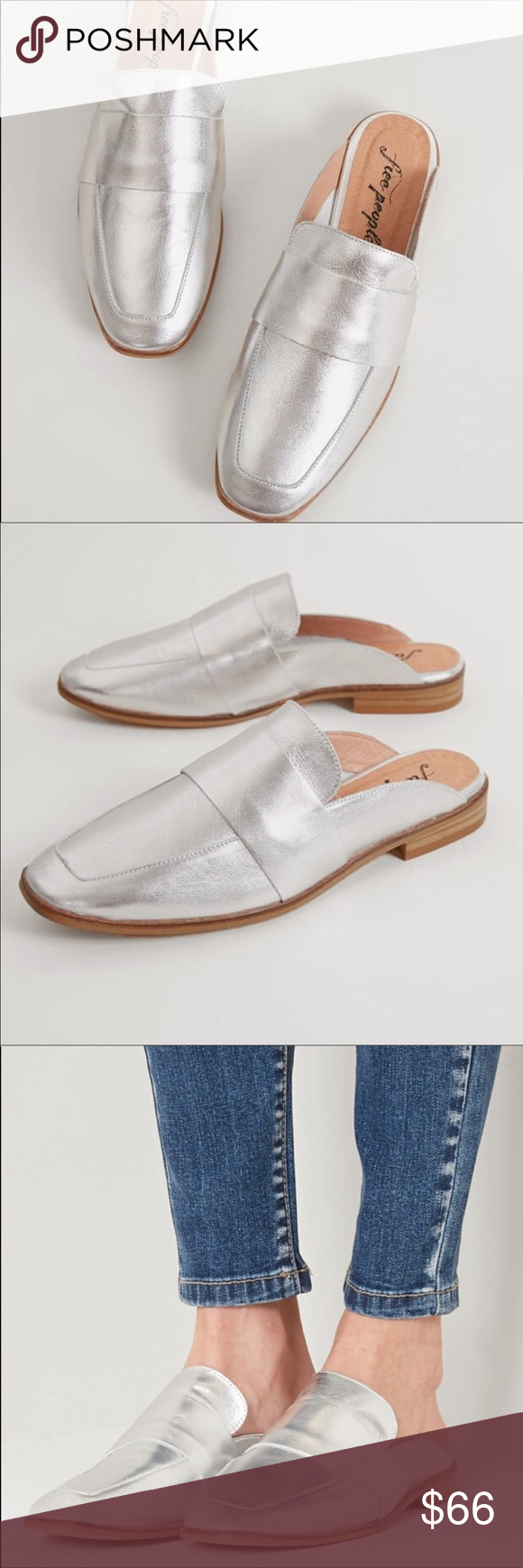 04d71ef6949 FREE PEOPLE silver leather slip on loafer mules New withbox FREE PEOPLE  silver leather slip on loafer mules Size 38   approx women s size 7.5  Retails  98 + ...
