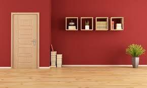 Resultado de imagen para interiores de casas con techo madera PARED PRINCIPAL ROJA
