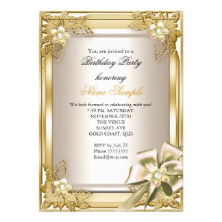Elite Elegant Birthday Party Gold Cream Bow L Cm X Cm - Birthday invitation gold coast