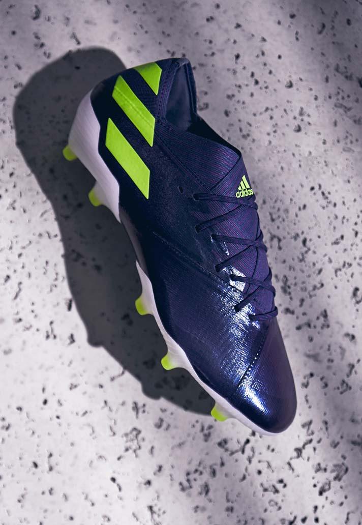 Adidas Launch Nemeziz Messi 19 1 Indigo Green Glory Soccerbible In 2020 Messi Soccer Cleats Adidas Football Boots