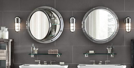 ROYAL NAVAL PORTHOLE MIRRORED MEDICINE CABINET From RestorationHardware.com