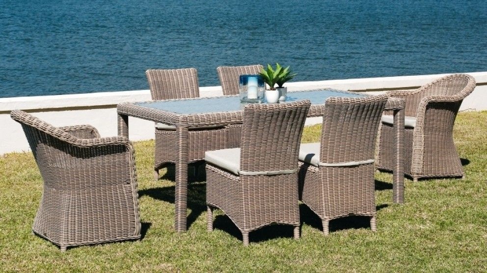Maui 7 Piece Outdoor Dining Setting with Carvers - Outdoor Dining ...