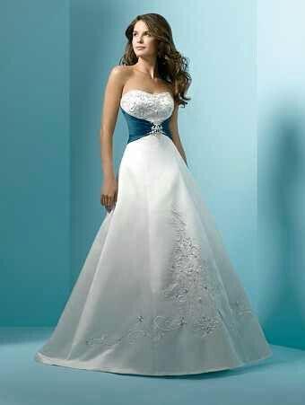Wedding Dress with Turquoise Sash