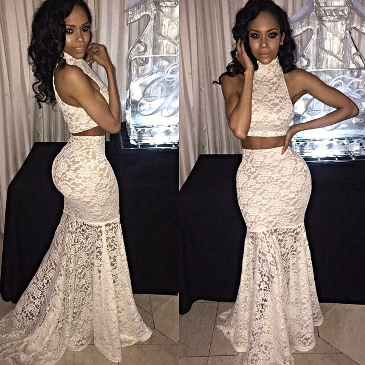 Lace two piece crop top with long mermaid skirt dress set dresses