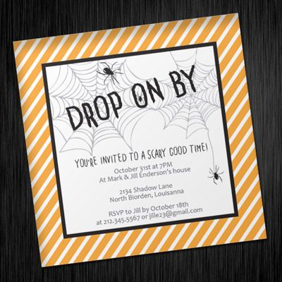 Halloween Invitation Template With Creepy Spider Web  Holiday