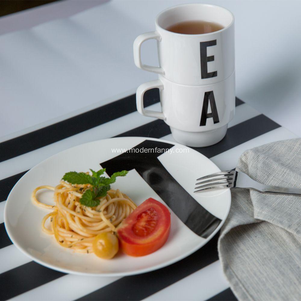 New White Porcelain Dinner Plate With Different Letter Design Welcome Order Modern Dinner Plates Dinner Plates Dinnerware Set Modern