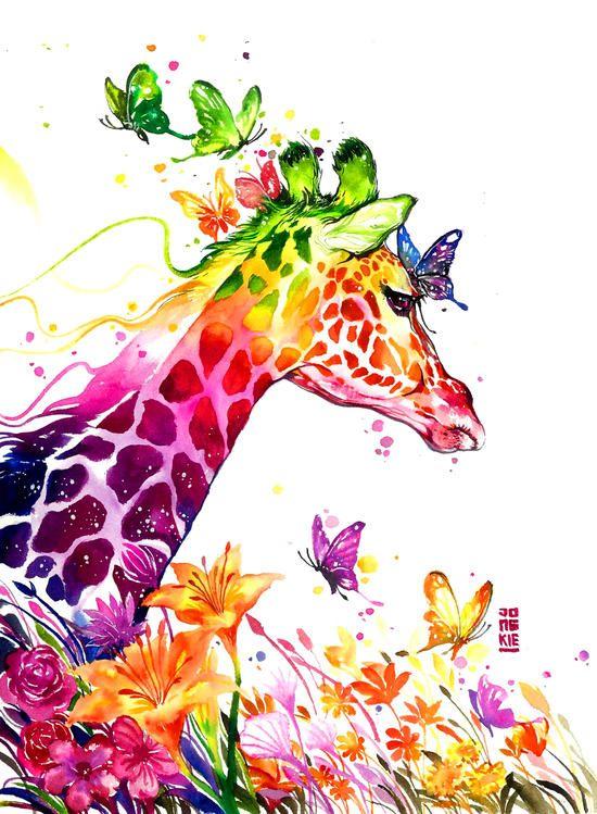 Картина по номерам Номерашка (Paintboy) «жираф с бабочками ...