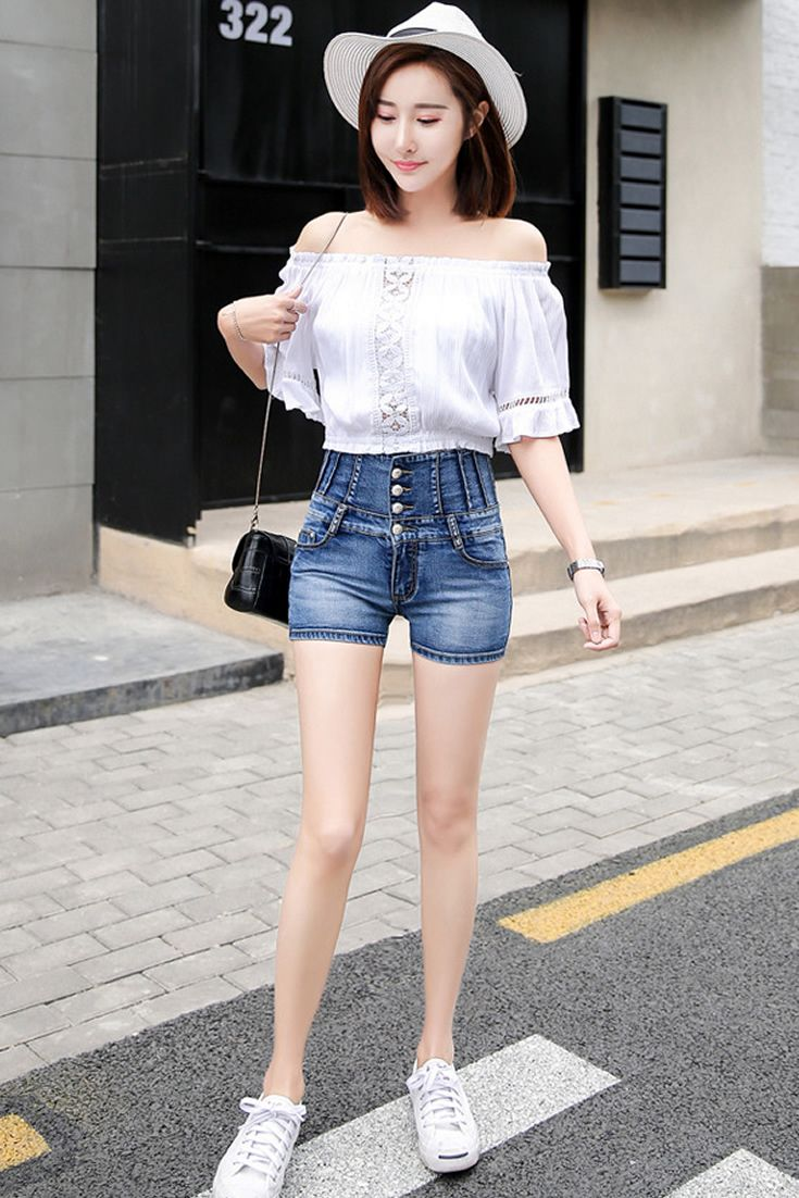 Button Shorts South Korea Airport Fashion Kpop Drama Korean Women Ootd Style Korea Denim