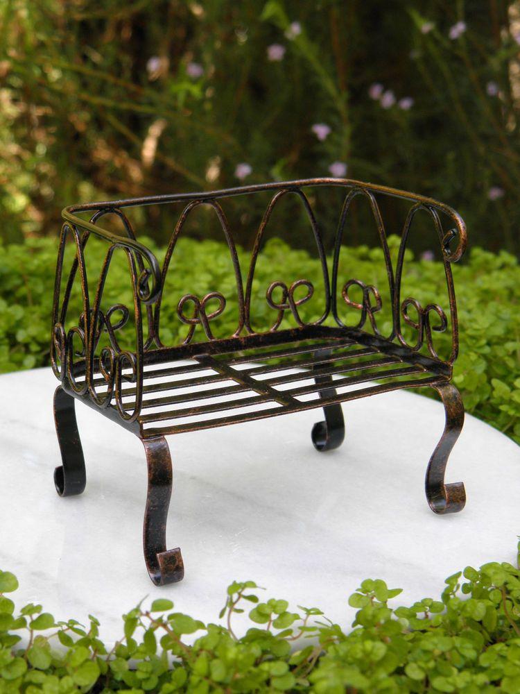 Miniature Dollhouse FAIRY GARDEN Furniture ~ Gray Resin Table /& Bench Set  ~ NEW