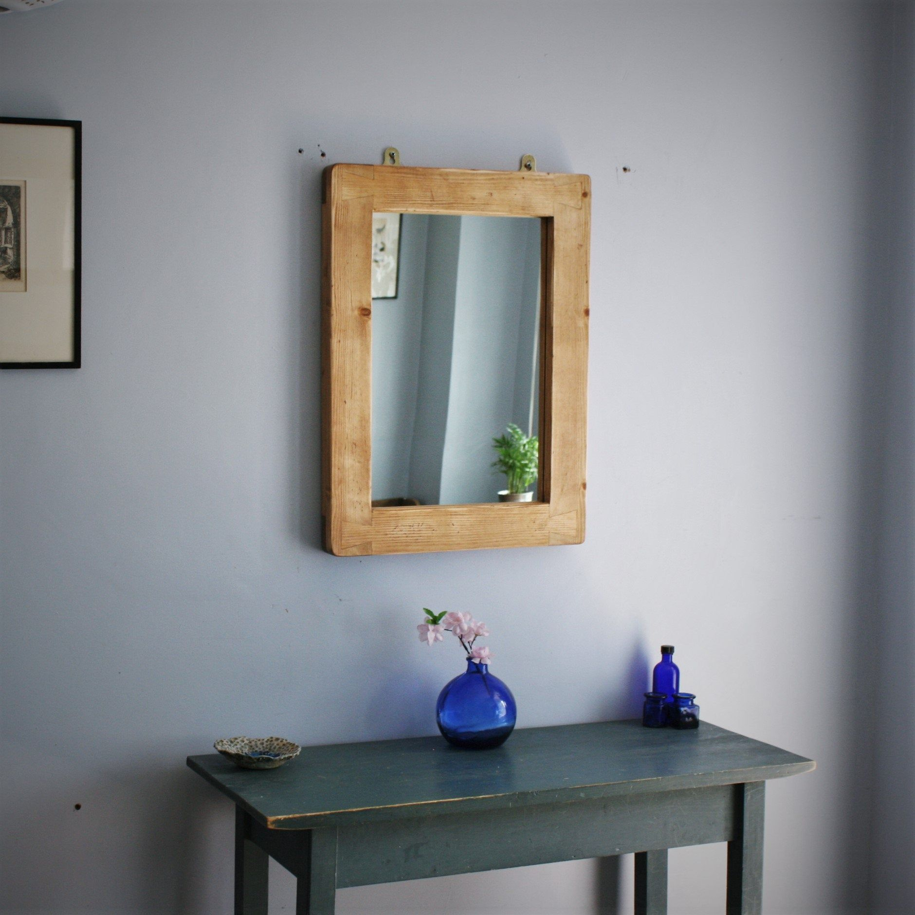 Wall Mirror In Pale Distressed Rustic Wood Thick Wood Frame 45 X 60 C In 2019 Framed Mirror Design Mirror Rustic Wood
