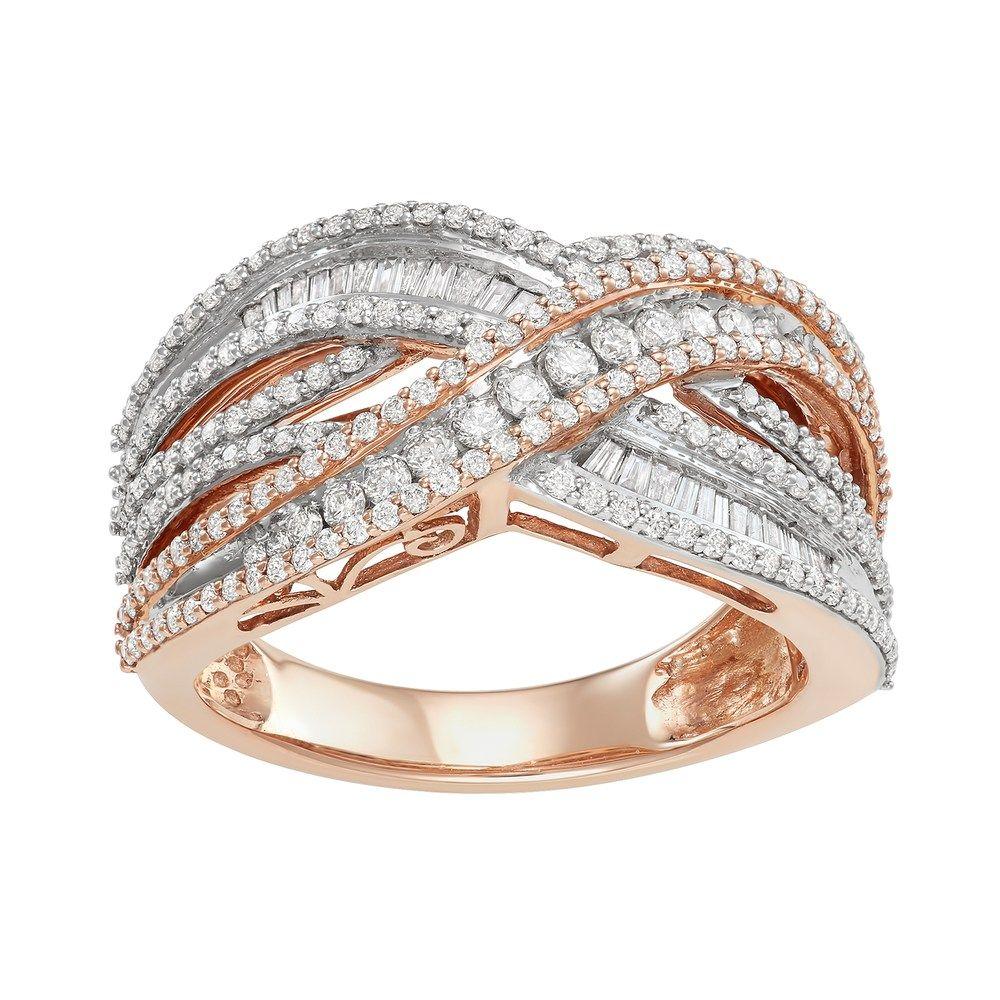 10k Rose Gold 1 Carat T W Diamond Crossover Ring Crossover Ring Rings Rose Gold