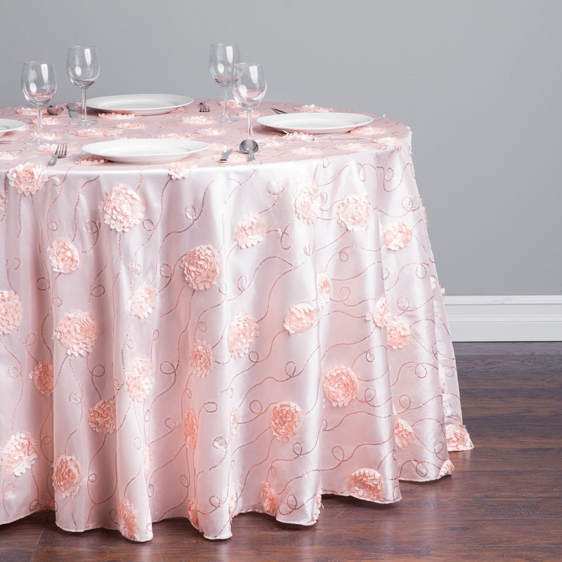 108 In Round Rosette Sequin Tablecloth Blush Pink Sequin