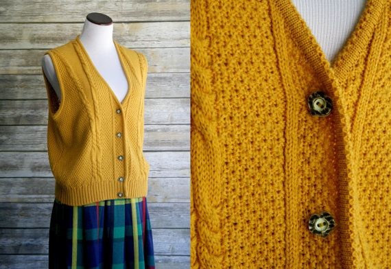 70's mustard yellow sweater vest. Large cable by CaliGoldVintage ...