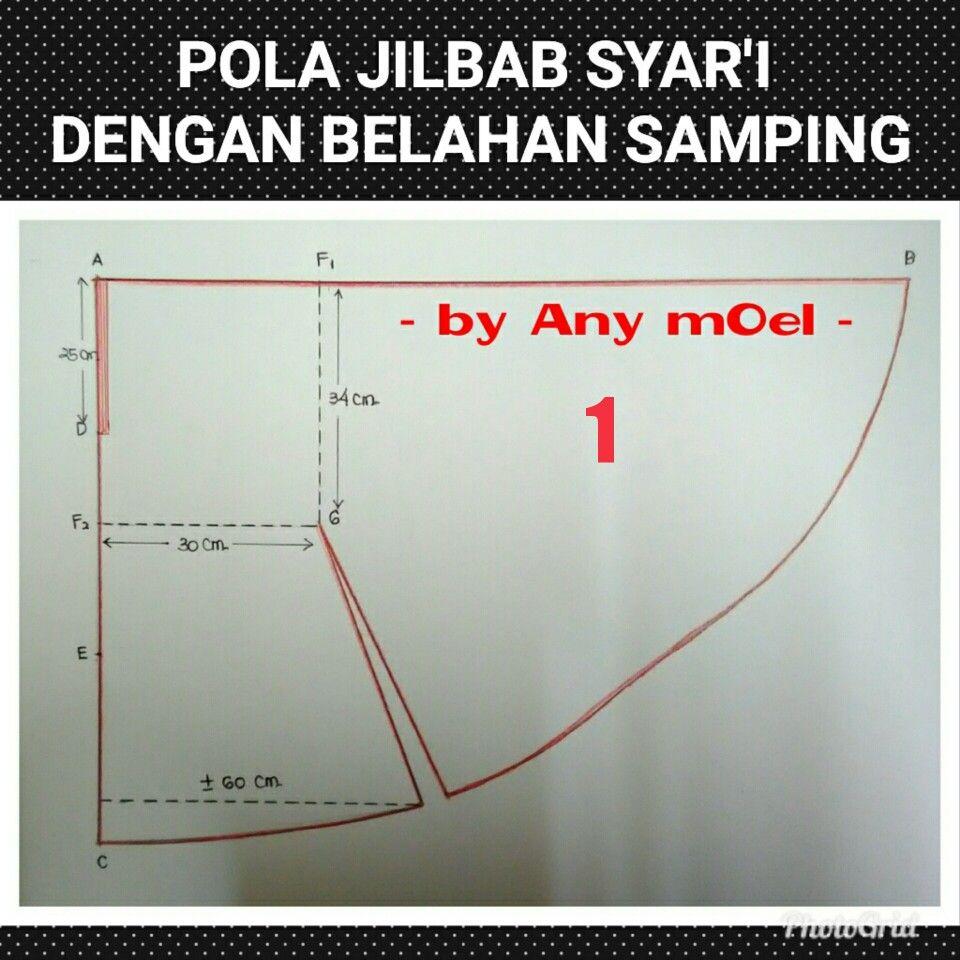 pola jilbab#by any moel  Pelajaran menjahit, Kursus hijab, Pola