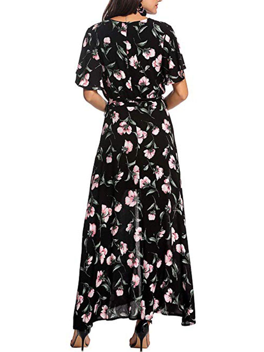 bab67fc9479 V-Neck Beach Summer Printed Maxi Dress in 2019