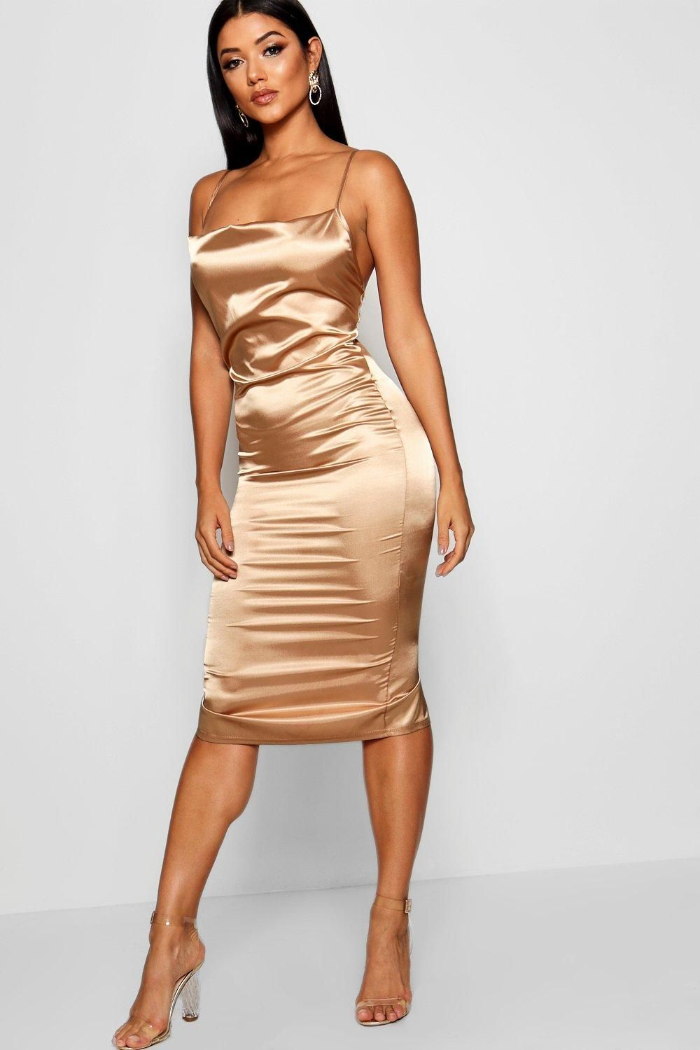 3de12b0c0246 Click here to find out about the Cowl Front Satin Midi Dress from Boohoo