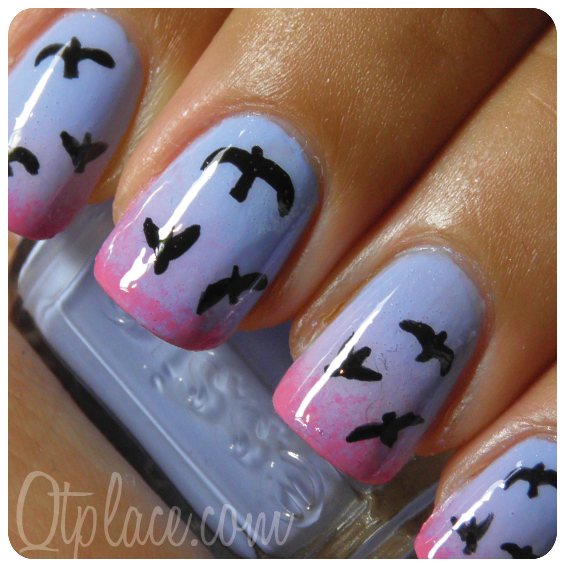 Love Birds Nail Art: Birds At Sunset Nail Design