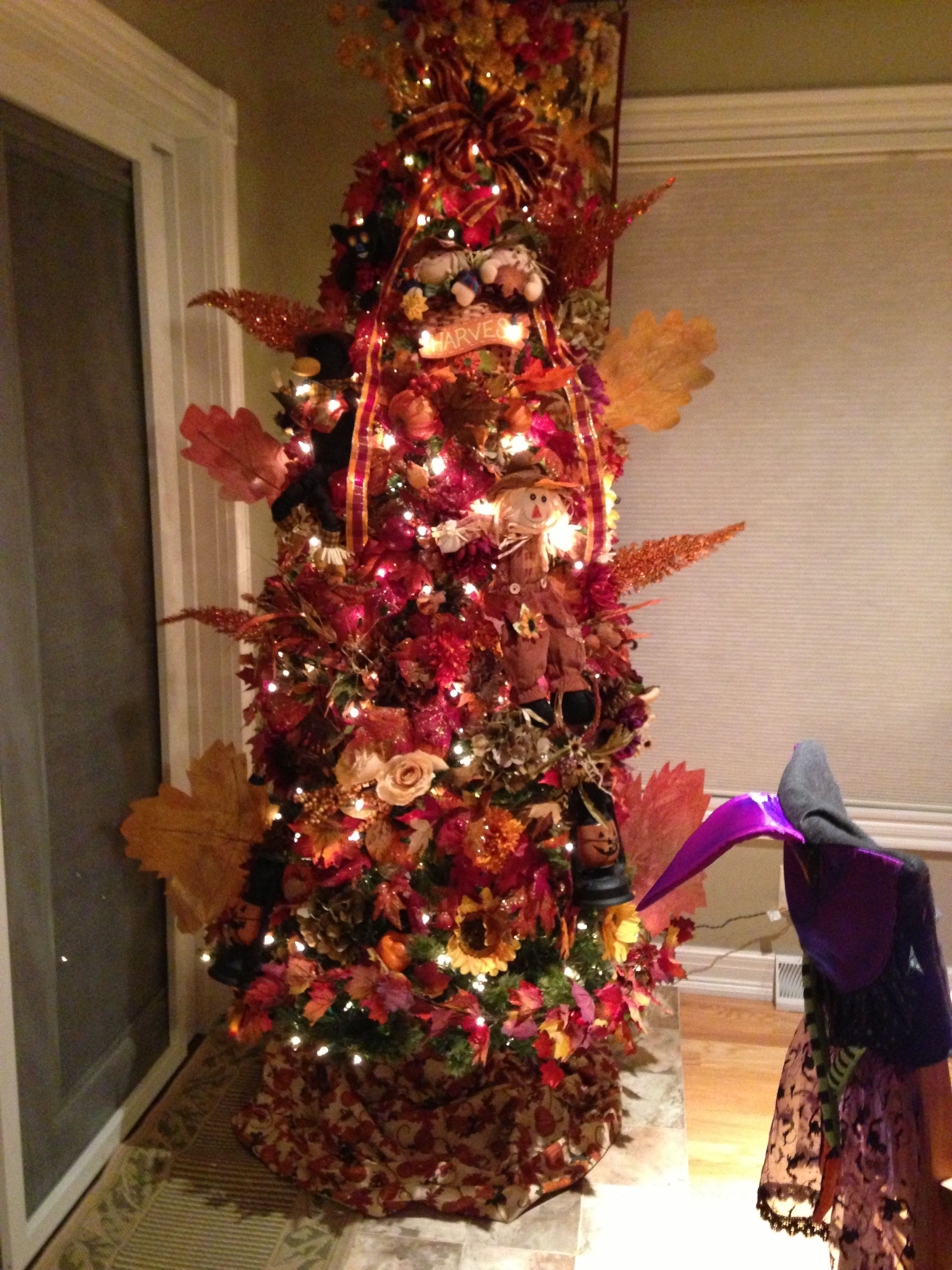 My Halloween/thanksgiving tree. I use my Christmas tree