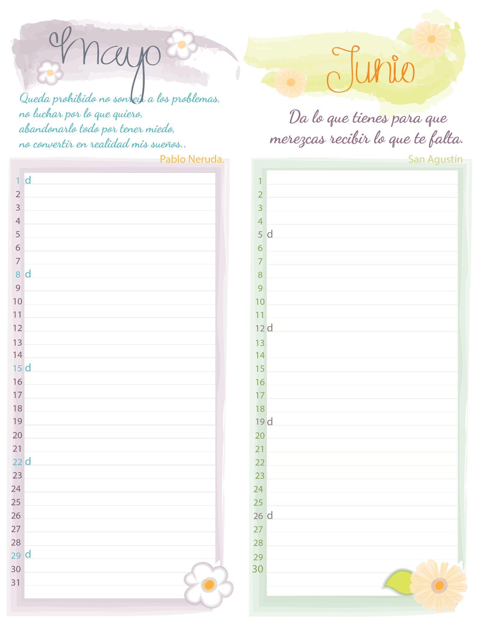 Calendarios mensuales para descargar e imprimir organiza - Disenos de calendarios ...
