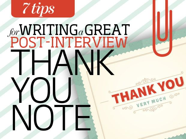 Writing a great post-interview thank you note Job Search - writing post interview thank you letters