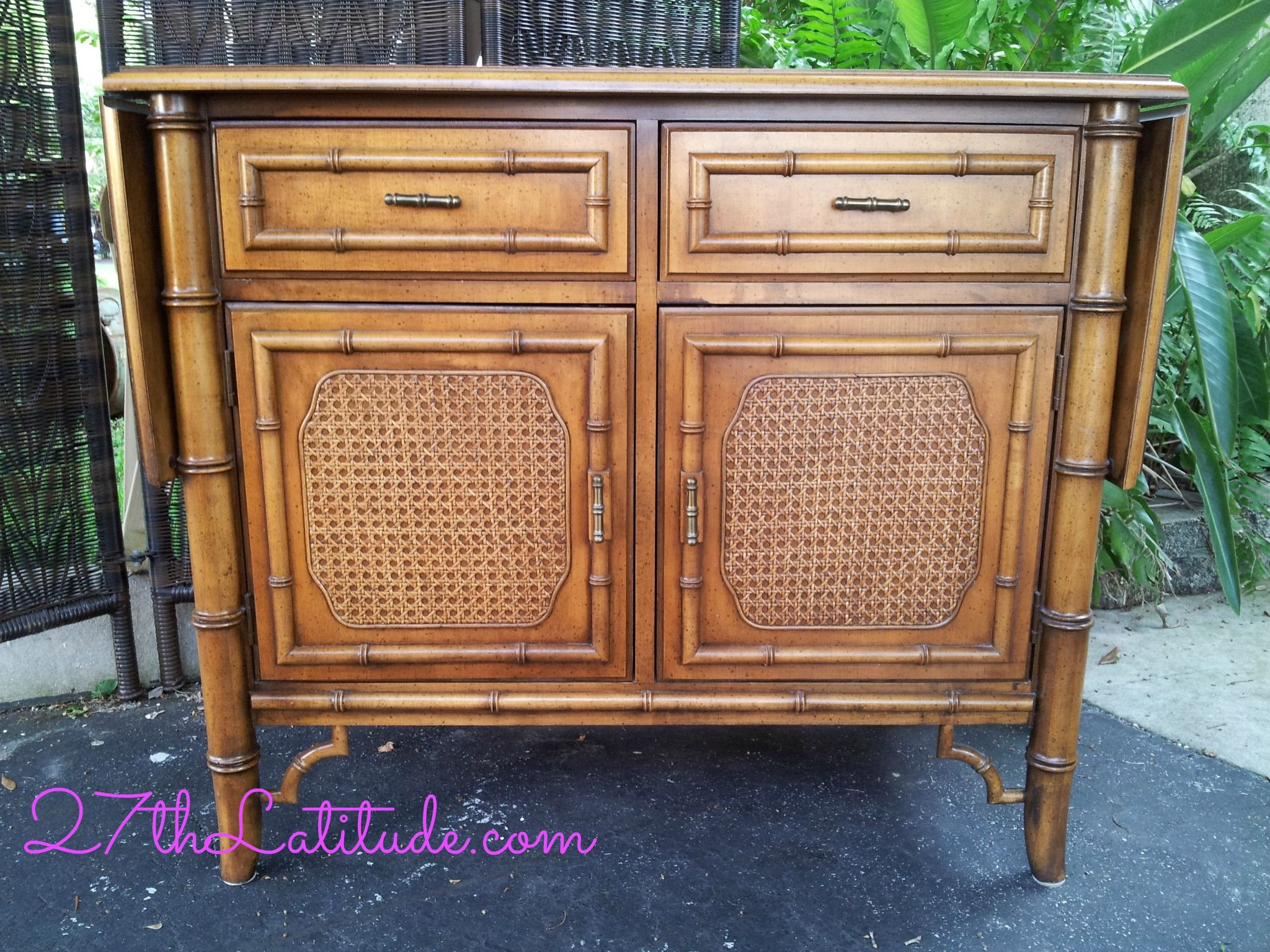 faux bamboo furniture #1 - Dixie Furniture Co. Tahiti Collection. vintage faux bamboo sideboard/buffet  with drop side leaves.