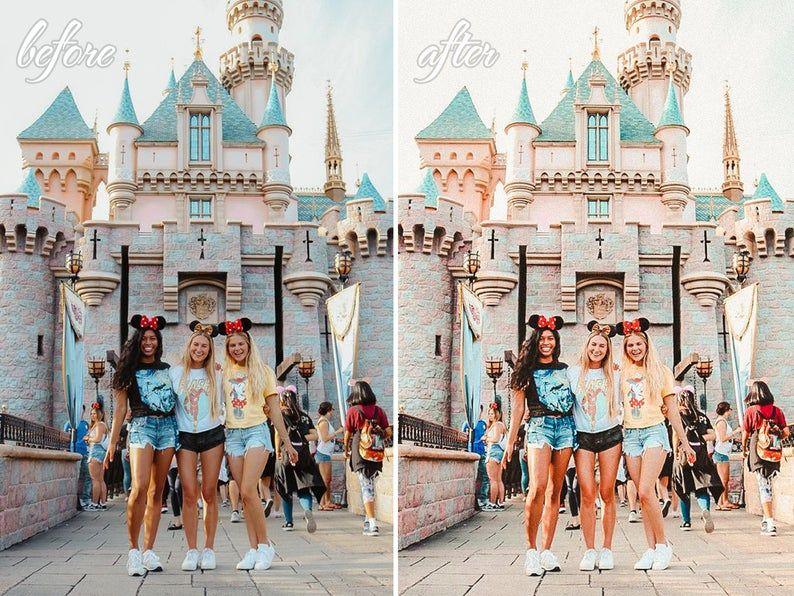 Read the full title 10 Lightroom Mobile Presets, Disney Girl Filters, Bright Disneyland Bundle for Colorful Instagram Photo, One Click Travel Preset for Blogger