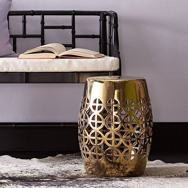 Merveilleux Wisteria   Furniture   Shop By Category   Poufs U0026 Stools   Gold Geometric Garden  Stool