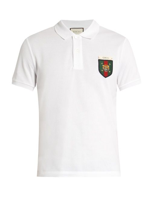 836ae97f GUCCI Tiger badge-appliqué cotton-blend polo shirt. #gucci #cloth #shirt