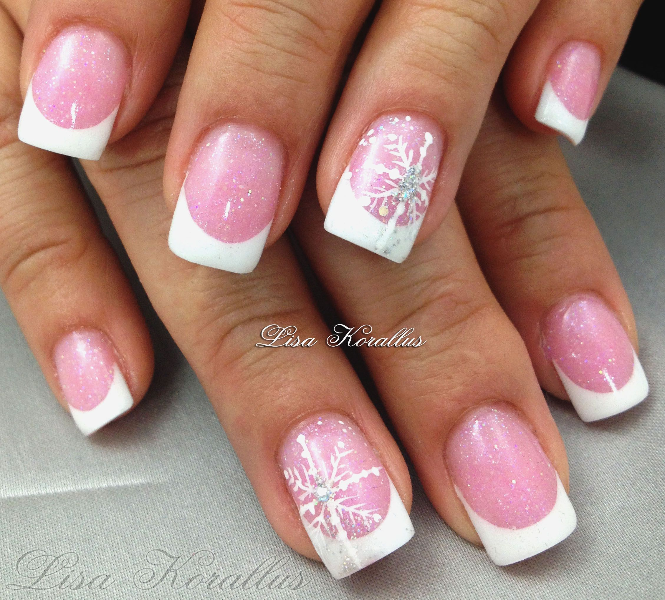 Sculpted pink and white gel enhancement with Swarovski