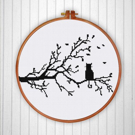 Cat on Tree silhouette cross stitch pattern Modern by ThuHaDesign