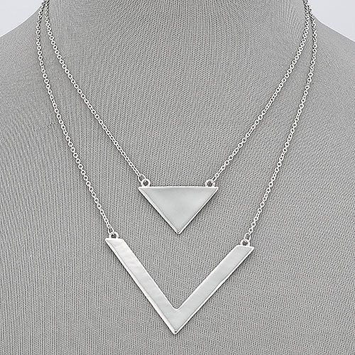 Rhodium silver double layered chain simple triangle design pendant rhodium silver double layered chain simple triangle design pendant necklace mozeypictures Choice Image